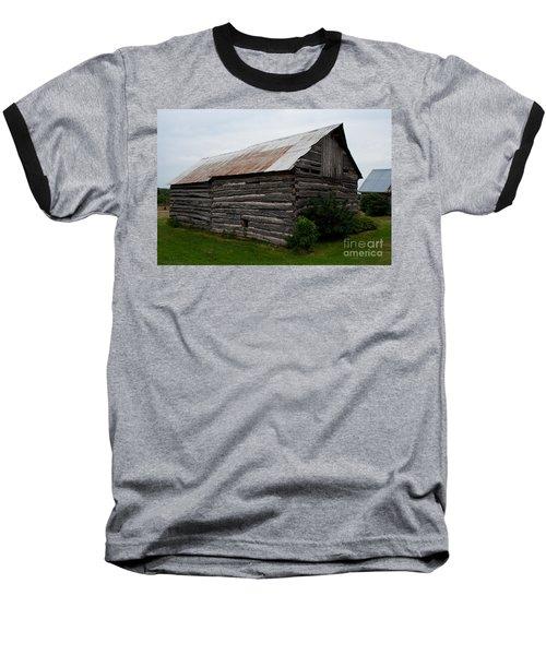 Baseball T-Shirt featuring the photograph Old Log Building by Barbara McMahon