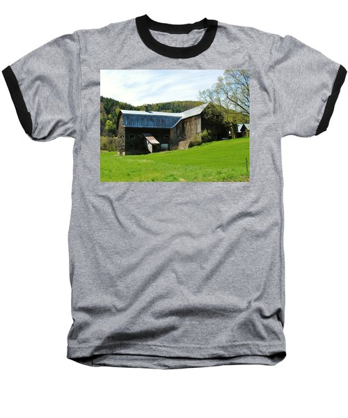 Baseball T-Shirt featuring the photograph Old Vermont Barn by Sherman Perry