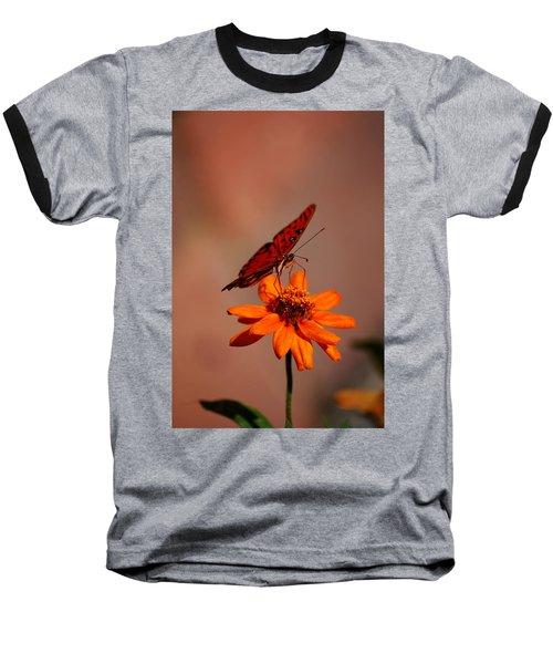 Orange Butterfly Orange Flower Baseball T-Shirt by Lori Tambakis