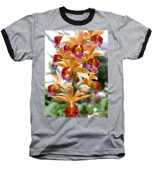 Baseball T-Shirt featuring the photograph Orange Orchids by Debbie Hart