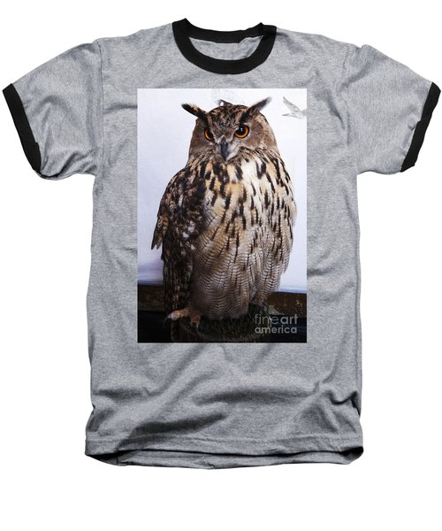 Orange Owl Eyes Baseball T-Shirt