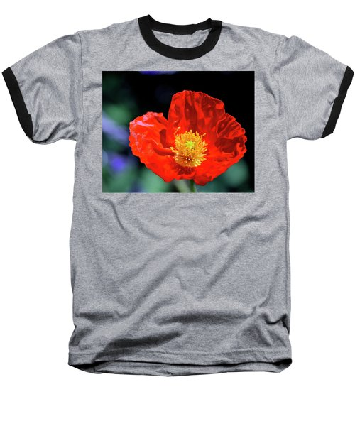 Orange Poppy Baseball T-Shirt