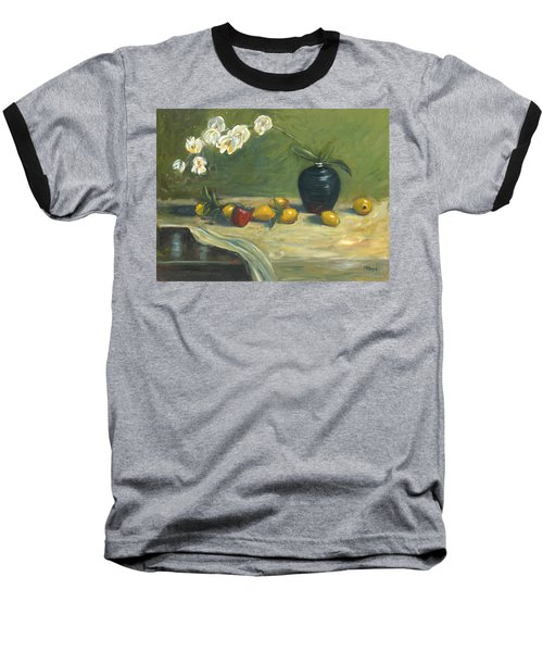 Orchids And Vase Baseball T-Shirt by Marlyn Boyd