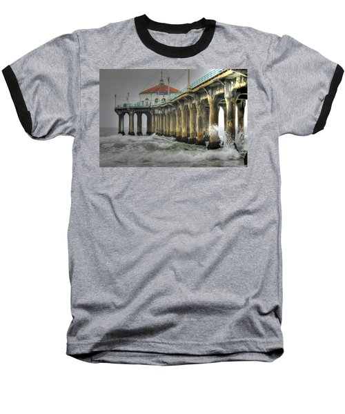 Overcast Manhattan Beach Pier Baseball T-Shirt
