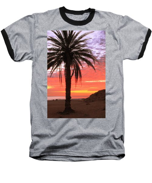 Palm Tree And Dawn Sky Baseball T-Shirt