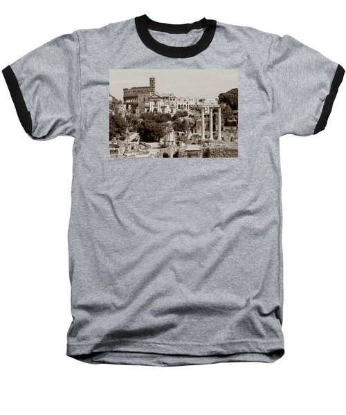 Panoramic View Via Sacra Rome Baseball T-Shirt by Tom Wurl