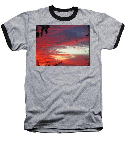 Papaya Colored Sunset With Geese Baseball T-Shirt by Kym Backland