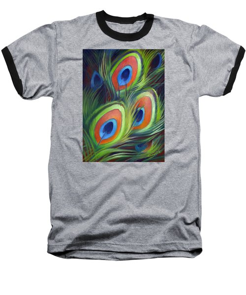 Peacock Feathers Baseball T-Shirt by Nancy Tilles