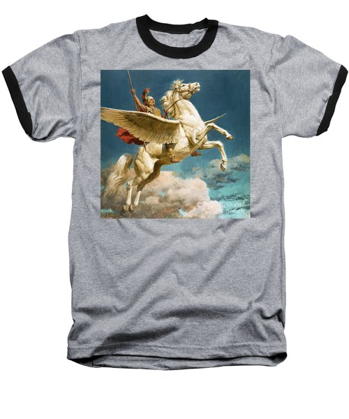 Pegasus The Winged Horse Baseball T-Shirt by Fortunino Matania