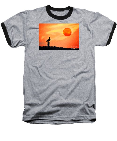 Baseball T-Shirt featuring the photograph Pelican During Hot Day by Dan Friend