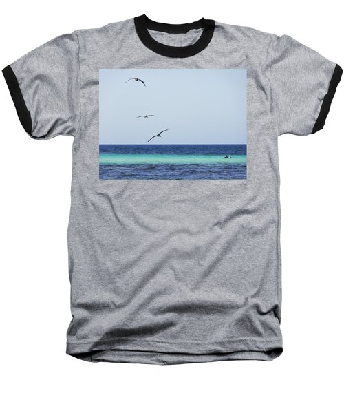 Pelicans In Flight Over Turquoise Blue Water.  Baseball T-Shirt