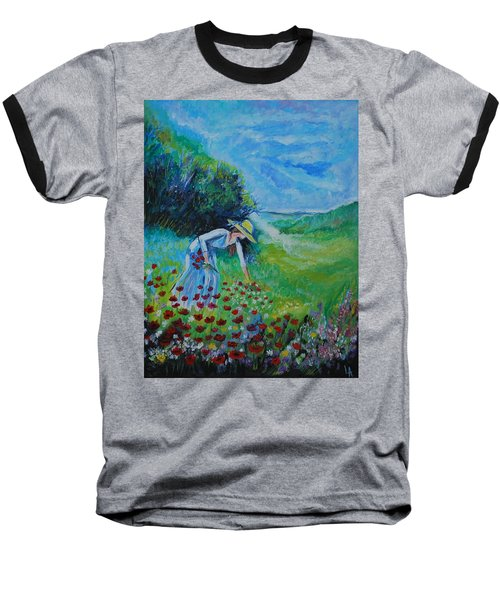 Baseball T-Shirt featuring the painting Picking Flowers by Leslie Allen