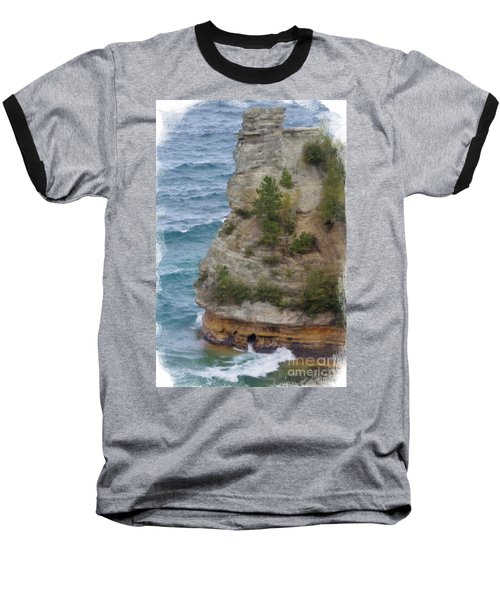 Baseball T-Shirt featuring the photograph Pictured Rocks In Oil by Deniece Platt