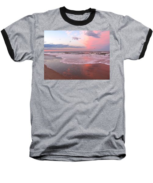 Pink Beach Baseball T-Shirt