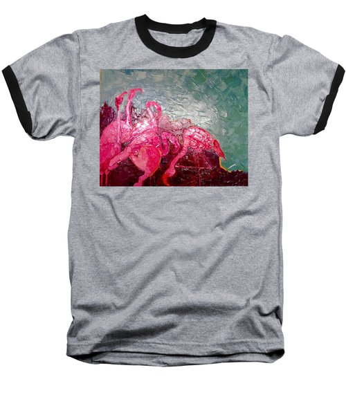 Baseball T-Shirt featuring the painting Pink Flamingoes by Ana Maria Edulescu
