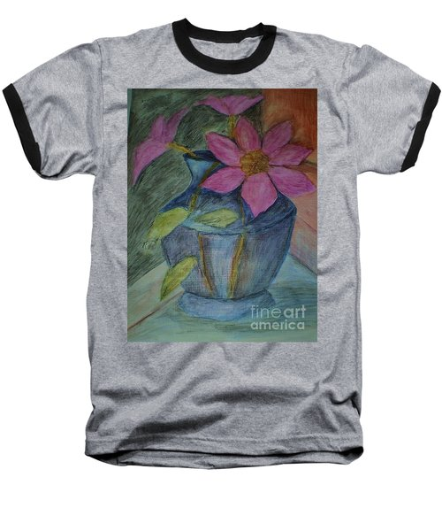 Baseball T-Shirt featuring the drawing Pink Flowers In Blue Vase by Christy Saunders Church