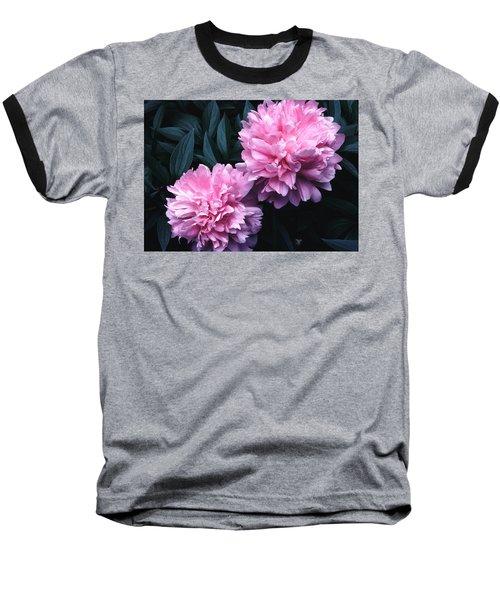 Pink Peony Pair Baseball T-Shirt by Tom Wurl