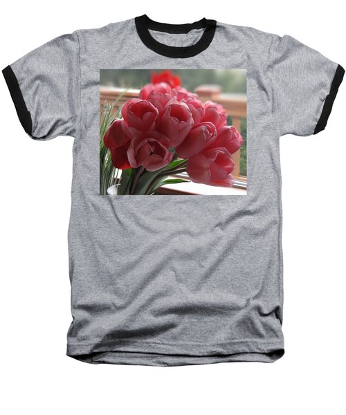 Pink Tulips In Vase Baseball T-Shirt by Katie Wing Vigil