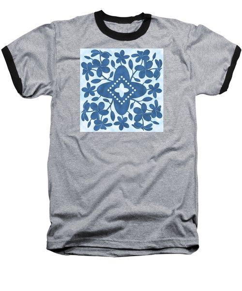 Plumeria Hawaiian Quilt Block Baseball T-Shirt