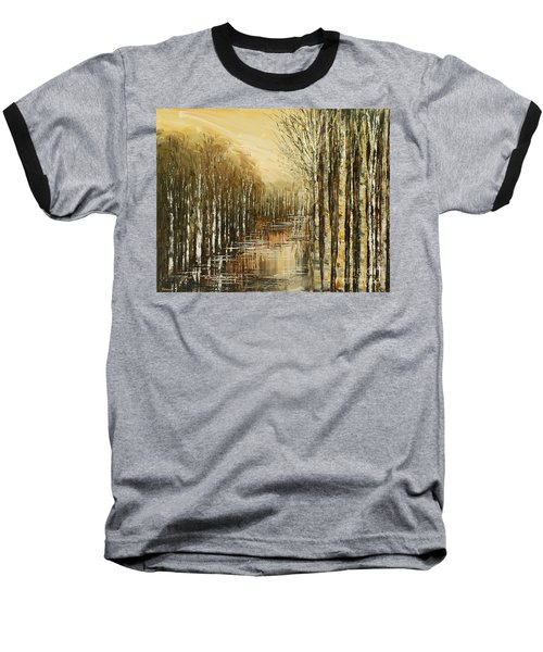 Baseball T-Shirt featuring the painting Pond Security by Tatiana Iliina