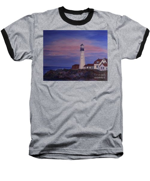 Baseball T-Shirt featuring the painting Portland Head Lighthouse At Dawn by Julie Brugh Riffey