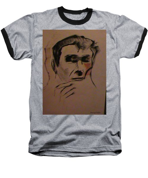 Baseball T-Shirt featuring the painting Portrait Of Frank Frazetta by George Pedro