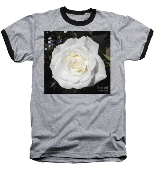 Pure White Rose Baseball T-Shirt