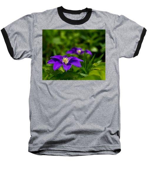 Purple Clematis Flower Baseball T-Shirt