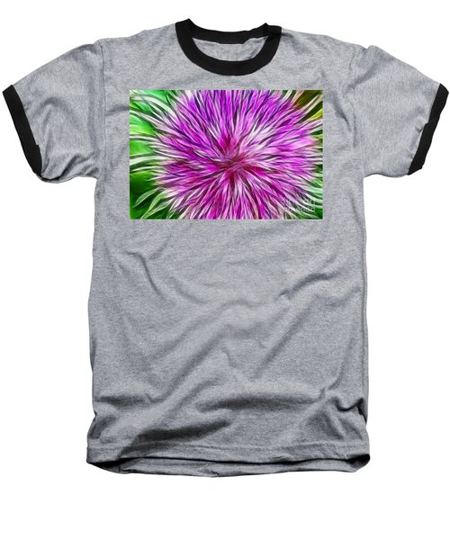 Purple Flower Fractal Baseball T-Shirt