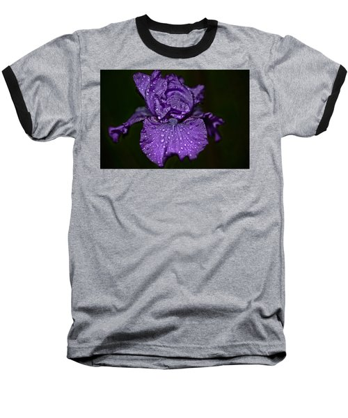 Purple Iris With Water Drops Baseball T-Shirt