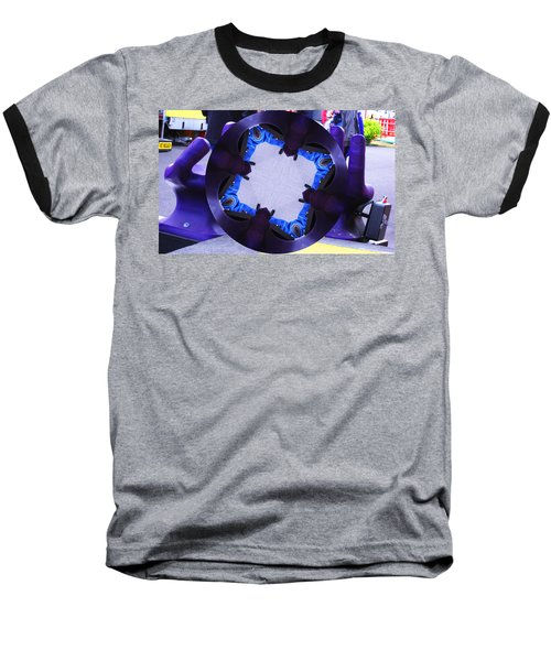 Purple Magic Fingers Chair Baseball T-Shirt by Kym Backland