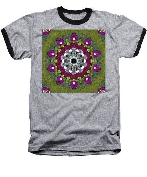 Purple Snakeskin Flower Baseball T-Shirt by Alec Drake