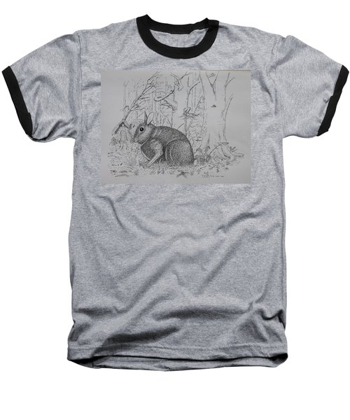 Rabbit In Woodland Baseball T-Shirt