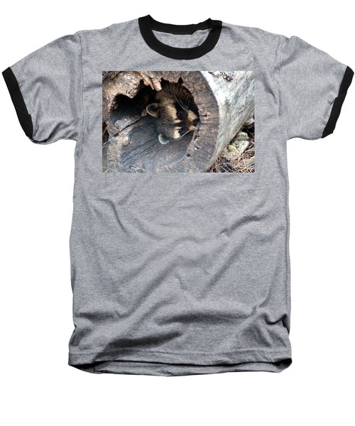 Baseball T-Shirt featuring the photograph Raccoon In Hiding by Kathy  White