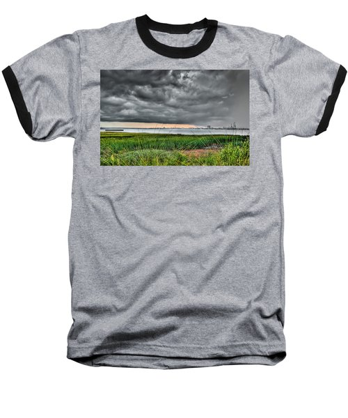 Rain Rolling In On The River Baseball T-Shirt