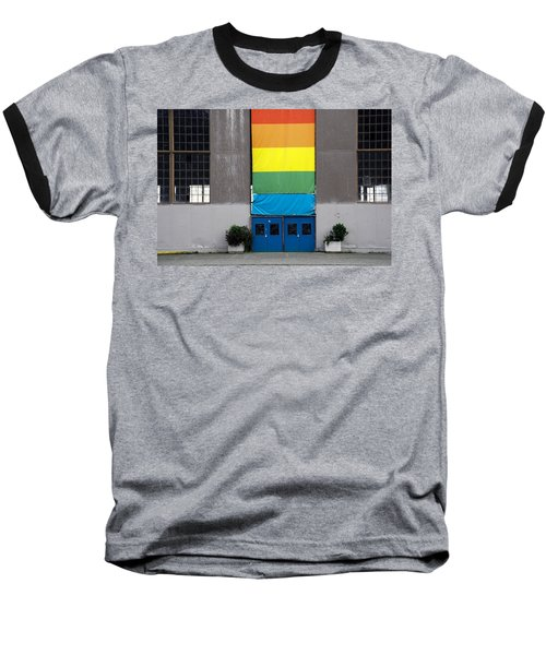 Baseball T-Shirt featuring the photograph Rainbow Banner Building by Kathleen Grace