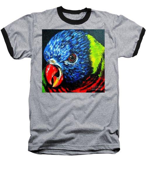 Baseball T-Shirt featuring the painting Rainbow Lorikeet Look by Julie Brugh Riffey