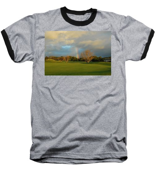 Rainbow Over Princeville Baseball T-Shirt by Lynn Bauer