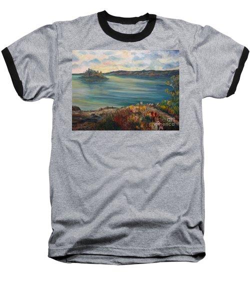 Baseball T-Shirt featuring the painting Rainy Lake Michigan by Julie Brugh Riffey