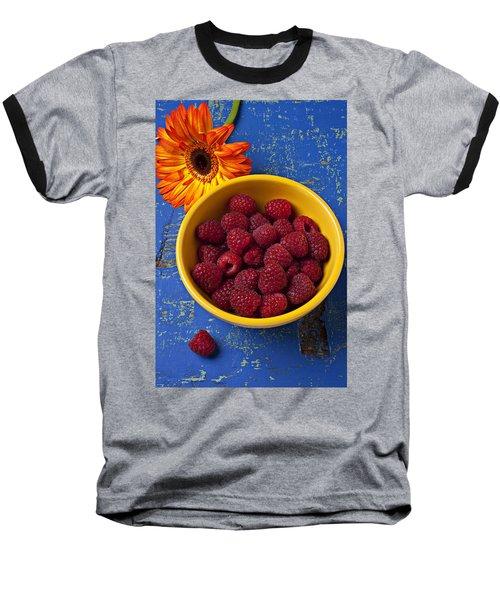 Raspberries In Yellow Bowl Baseball T-Shirt