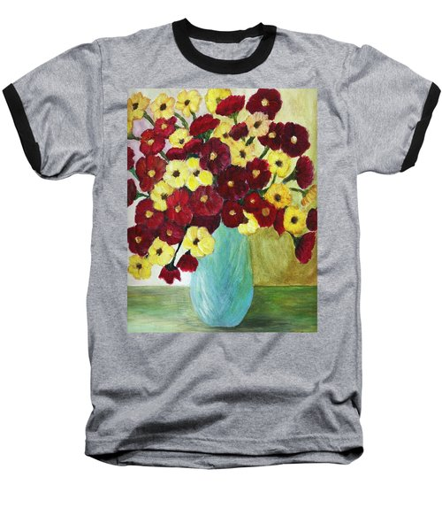 Baseball T-Shirt featuring the painting Red And Yellow Bouquet In Blue by Christy Saunders Church