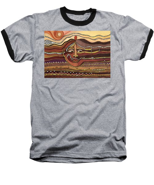 Red Aztec Face In Nature Landscape Abstract Fantasy With Earth Colors Sunset And Skyline Baseball T-Shirt