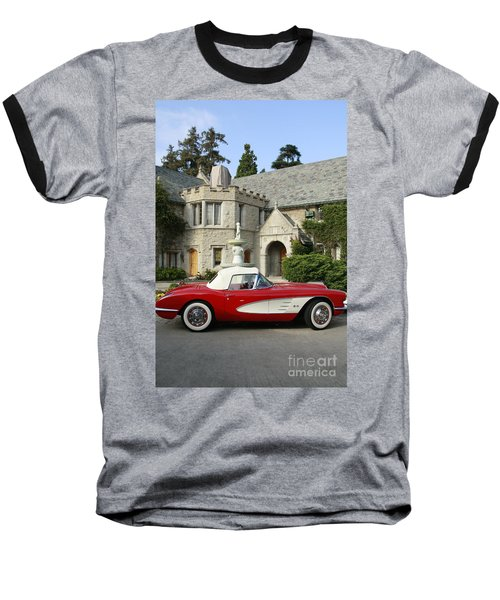 Red Corvette Outside The Playboy Mansion Baseball T-Shirt
