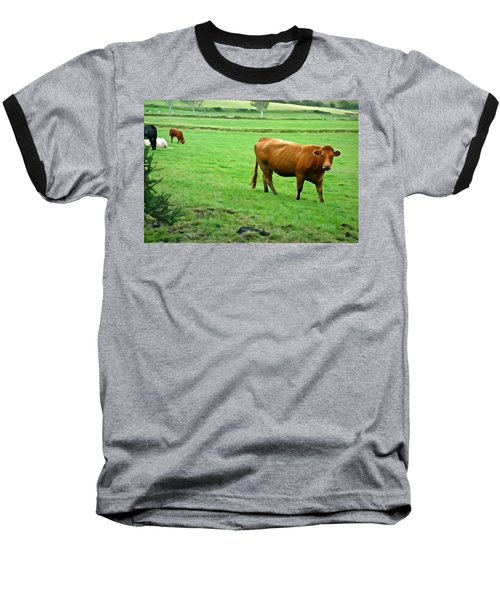 Baseball T-Shirt featuring the photograph Red Cow by Charlie and Norma Brock