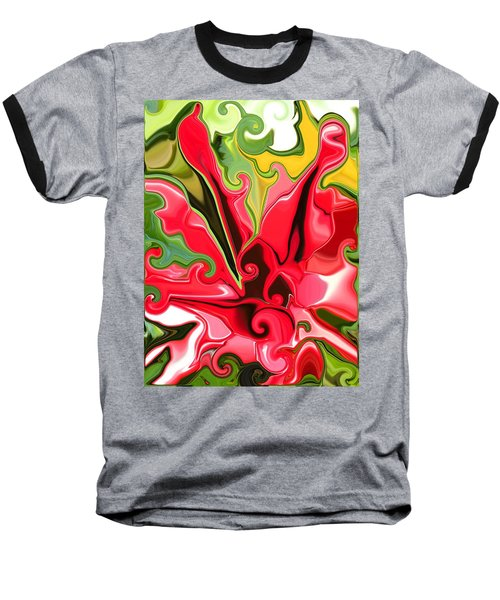 Red Fantasy Lily Baseball T-Shirt