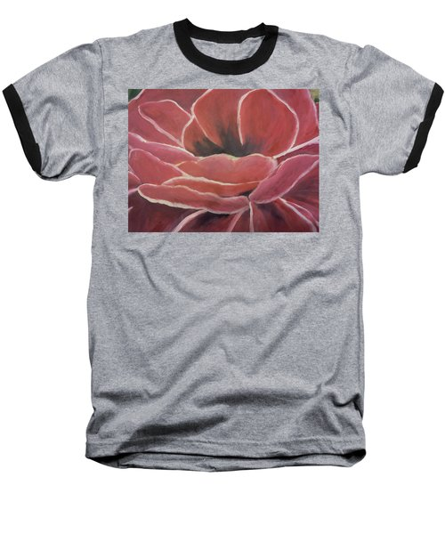 Baseball T-Shirt featuring the painting Red Flower by Christy Saunders Church
