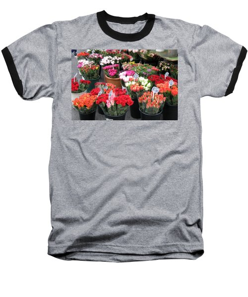 Baseball T-Shirt featuring the photograph Red Flowers In French Flower Market by Carla Parris