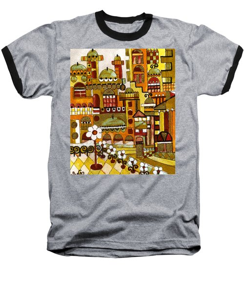 Red Kasba Skyline Landscape Art Of Old Town Dome And Minarett Decorated With Flower Arch In Orange Baseball T-Shirt by Rachel Hershkovitz