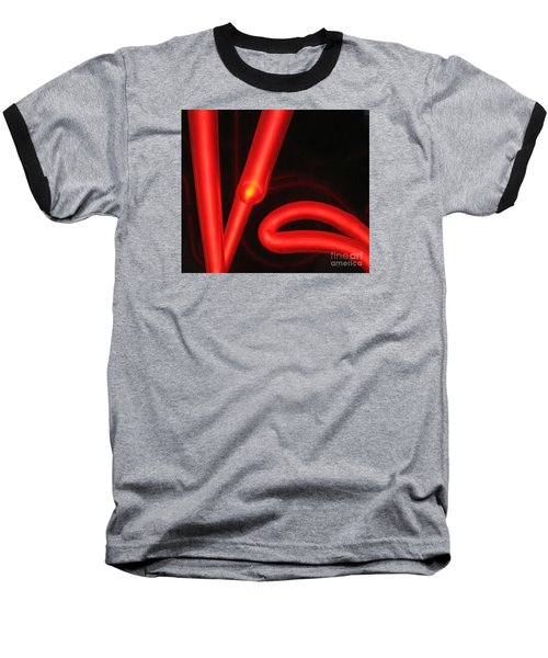 Baseball T-Shirt featuring the photograph Red Neon by John King