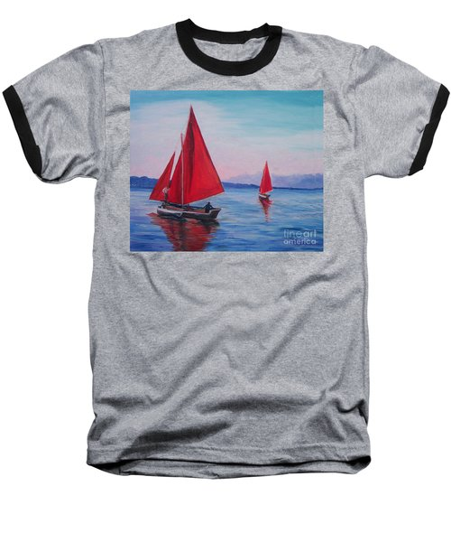 Baseball T-Shirt featuring the painting Red Sails On Irish Coast by Julie Brugh Riffey